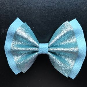 Duo Blue Toned Faux Leather Glitter Bow